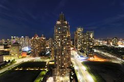 MISSISSAUGA, CANADA, JUNE 14, 2016: View to the skyscrapers in t. He night Stock Photos