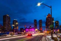 Mississauga, Kanada, Luty 14, 2019: Kwadratowy Jeden podczas zimy, centre Mississauga miasta część wielki Toronto teren fotografia stock