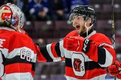 Mississauga Steelheads vs Ottawa 67 Hockeylek Arkivbilder