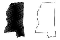 Mississippi översiktsvektor royaltyfri illustrationer
