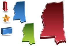 Mississippi 3D. Set of 3D images of the State of Mississippi with icons Stock Photos