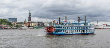 Mississippi boats crossing Elba river, Hamburg royalty free stock photo