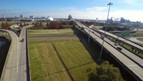 Mississippi Bridge aerial drone video stock video footage