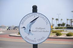 Mississippi Coastal Birding Trail Sign. Mississippi Coastal Birding Trail and Gulfport Small Craft Harbor, Gulfport is the second largest city in Mississippi stock photo