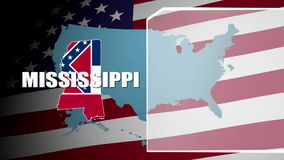 Mississippi Countered Flag and Information Panel stock video footage