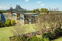 Mississippi Crossing. Old and new bridges across the Mississippi River at Vicksburg, TN royalty free stock photo