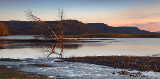 Mississippi Dawn. Dawn view of the Mississippi River from Iowa stock photography