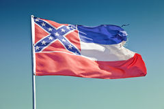 Mississippi Flag. Old Mississippi flag waving in the wind royalty free stock image