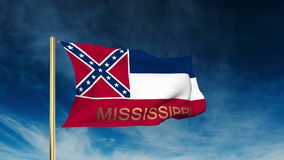 Mississippi flag slider style with title. Waving. With cloud background animation stock video footage