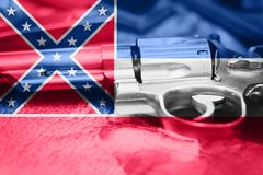 Mississippi flag U.S. state Gun Control USA. United States. Gun Laws Stock Photos