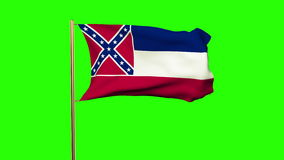 Mississippi flag waving in the wind. Green screen stock video