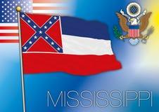 Mississippi-Flagge, US-Staat vektor abbildung
