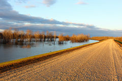Mississippi Flood. Water and levee Royalty Free Stock Photo