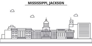 Mississippi, Jackson architecture line skyline illustration. Linear vector cityscape with famous landmarks, city sights. Design icons. Editable strokes Stock Photo