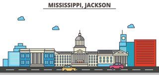 Mississippi, Jackson.City skyline. Mississippi, Jackson.City skyline: architecture buildings, streets silhouette, landscape panorama, landmarks. Editable Royalty Free Stock Images