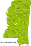 Mississippi map. Map of Mississippi state designed in illustration with the counties and the county seats Stock Photo