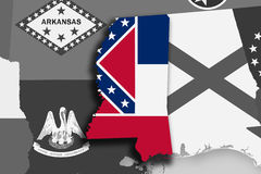 Mississippi map and flag Stock Photography