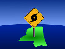 Mississippi map hurricane sign Royalty Free Stock Image