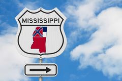 Mississippi map and state flag on a USA highway road sign royalty free stock photo