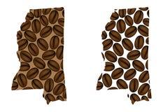 Mississippi - mapa do feijão de café Foto de Stock