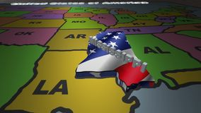 Mississippi pull out from USA states abbreviations map. State Mississippi pull out from USA map with american flag on background. A map of the US showing the two stock footage