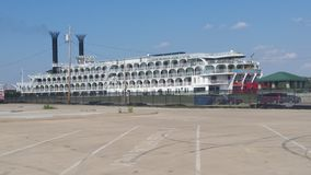 Mississippi queen paddle wheel boat Royalty Free Stock Images