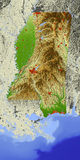 Mississippi, relief map. Shaded relief map of Mississippi Stock Photography