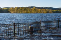 Mississippi River Autumn Horizon and Floodwater royalty free stock photos