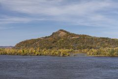 Mississippi River In Autumn. A scenic landscape featuring the Mississippi River during autumn stock images