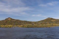 Mississippi River In Autumn. A scenic landscape featuring the Mississippi River during autumn stock photo
