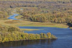 Mississippi River & Backwaters In Autumn. A scenic landscape featuring the Mississippi River with backwaters during autumn royalty free stock photos