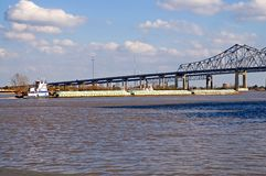 Mississippi river barge Stock Photo