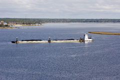 Mississippi River Barge And Tug Boat Stock Photos