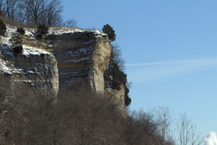Mississippi River Bluffs. Image of a cliff in the bluffs of the Mississippi river by Elsah, Illinois in winter with snow stock photography