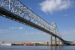 Mississippi River Bridge. One span of the Crescent City Connection bridges in New Orleans as it crosses the port Stock Images