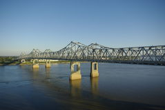 Mississippi River Bridge. Two cantilever bridges over the Mississippi River connecting Natchez, MS and Vidalia, LA, as viewed from the air looking toward Royalty Free Stock Image