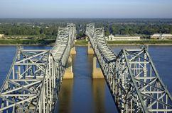 Mississippi River Bridge. Two cantilever bridges over the Mississippi River connecting Natchez, MS and Vidalia, LA, as viewed from the air looking toward Royalty Free Stock Photo