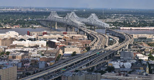 Mississippi River Bridge Aerial Royalty Free Stock Images