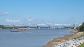 Mississippi River bridge. River bridges at Vicksburg, MS royalty free stock image