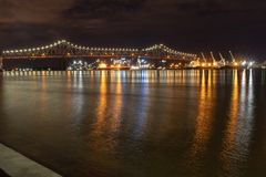 Mississippi River Bridge at night in Baton Rouge, Louisiana stock image