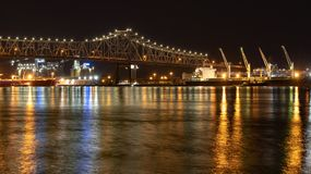 Mississippi River Bridge at night in Baton Rouge, Louisiana stock photos