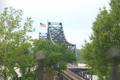 Mississippi River Bridge. Old bridge doubled as train Royalty Free Stock Photo