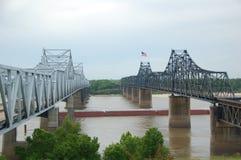 Mississippi River Bridge. Old & New Mississippi River Stock Images