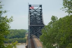 Mississippi River Bridge. & railroad train royalty free stock images