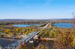 Mississippi River and Bridge into Wisconsin. Aerial view of highway 63 bridge crossing mississippi river and backwaters into wisconsin from barn bluff in red stock images