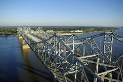 Mississippi River Bridges. Two cantilever bridges over the Mississippi River connecting Natchez, MS and Vidalia, LA, as viewed from the air looking toward Royalty Free Stock Image
