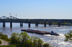 Mississippi River bridges and barges Royalty Free Stock Photo