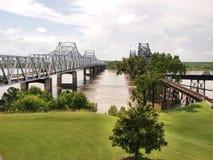 Mississippi River Bridges. The highway bridge and the railroad bridge across the Mississippi River at Vicksburg, Mississippi, USA stock image