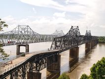 Mississippi River Bridges. The highway bridge and the railroad bridge on the Mississippi River at Vicksburg, Mississippi, USA royalty free stock photos