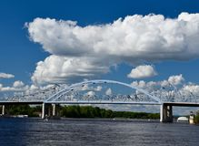 Mississippi River Bridges. This is a Summer picture of two Mississippi River Bridges that carry traffic over the Mississippi River located at La Cross, Wisconsin Royalty Free Stock Photos